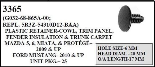 W E 3365 Plastic Retainer Cowl Amp Trim Panel Fender