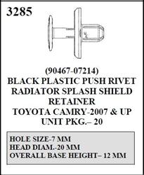 W E 3285 Black Plastic Push Rivet Radiator Splash Guard