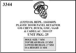 W-E 3344 Plastic Door Panel Retainer, GM, Chevy, Buick, GMC, SAAB, & Cadillac