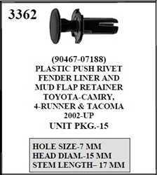 W E 3362 Plastic Push Rivet Fender Liner And Mud Flap